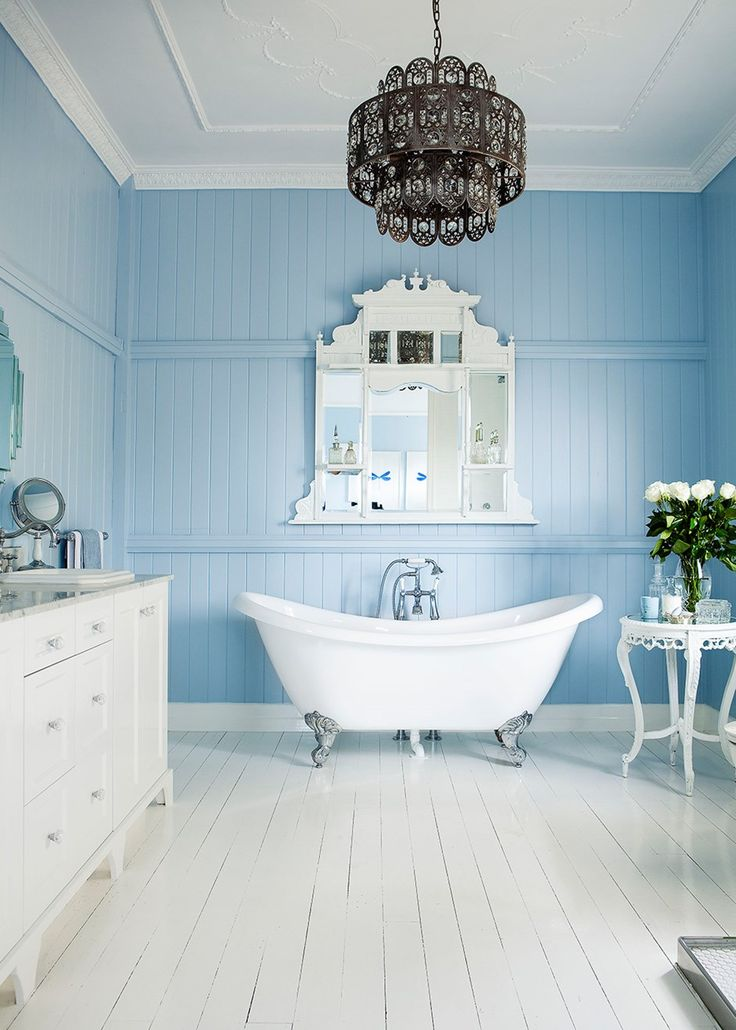 Powder blue bathroom with an art deco inspired vibe - Home Beautiful