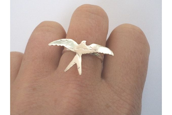 Flying bird ring in sterling silver by Secrets Unearthed Jewellery