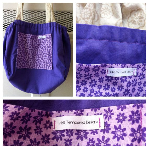 Bicycle Basket Liner Tote Bag: Purple and Khaki Yoga Inspired on Etsy, $37.50