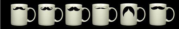 Tazza colazione baffi mustache Moustache 6 di Diclem su Etsy, €59.99