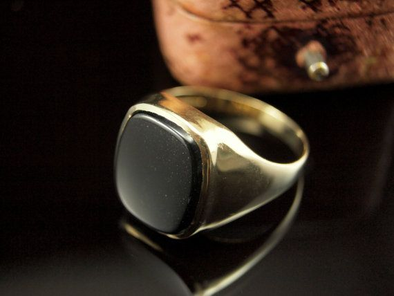 Vintage Mens Ring 9k Gold Onyx Rings for Men by BelmontandBellamy, £95.00