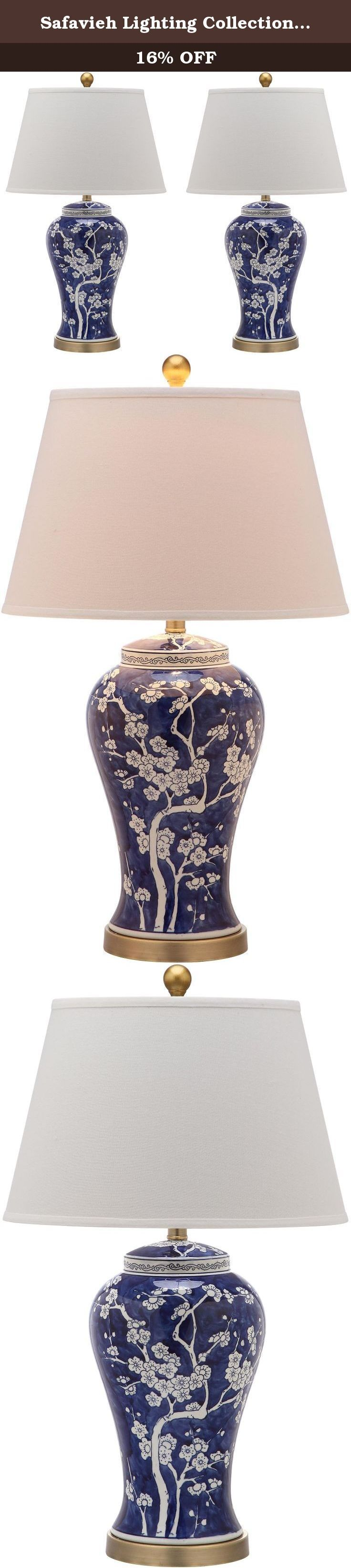 Safavieh Lighting Collection Spring Blossom Multi Floral 29-inch Table Lamp (Set of 2). Wandering branches bursting with white flower buds adorn the classically-styled navy blue spring blossom table lamp. True to its roots in Asian design, this elegant urn-shaped lamp is crafted of ceramic with white linen shade, gilded finial and accents.