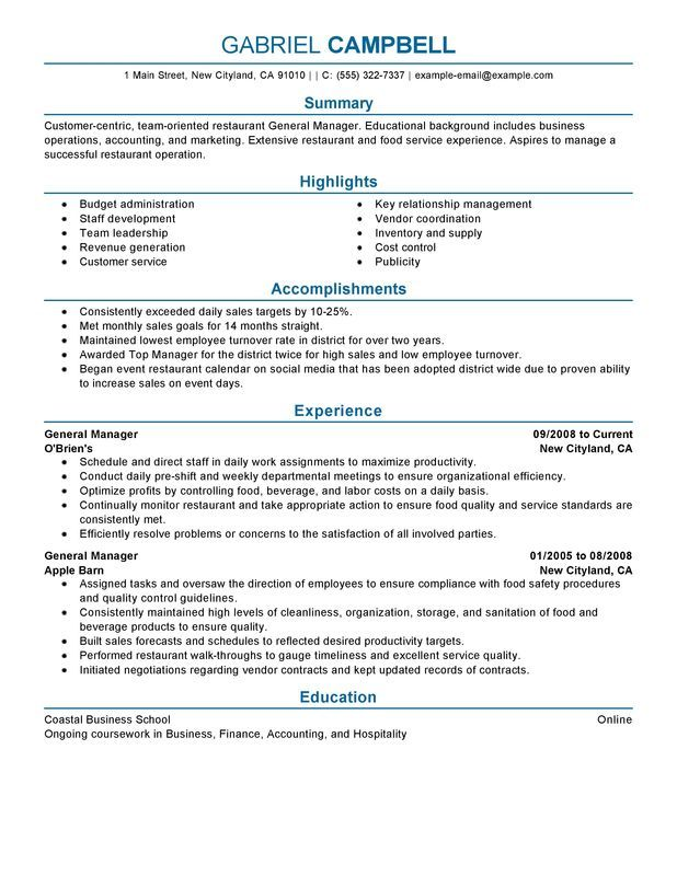 52 best restaurant resume images on Pinterest - baseball general manager sample resume