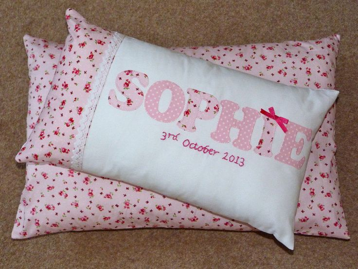 HANDMADE Personalised Name Cushion Girl Boy Pink Purple Baby Gift Keepsake