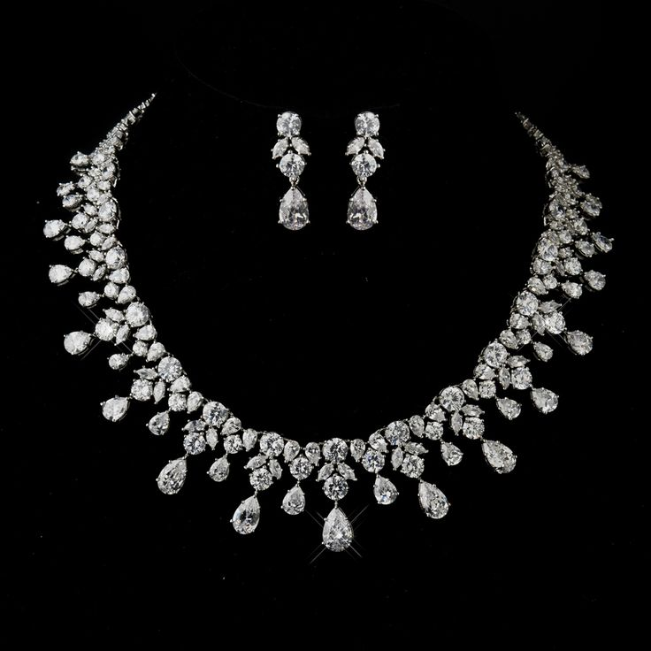 Glamorous CZ Wedding Jewelry Set ne8758 - breath-taking! Affordable Elegance Bridal -