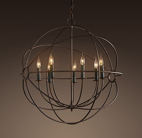 Dining room lighting. Foucault's iron orb chandelier by Restoration Hardware.