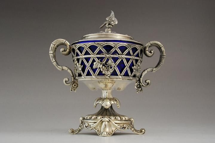 Silver confiturier with cobalt glass insert, Paris