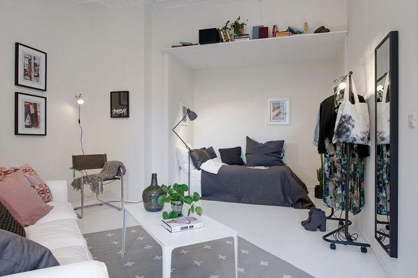 작은 원룸 화이트 인테리어 디자인_Small One-Room Apartment Showcasing An Ingenious Layout : 네이버…