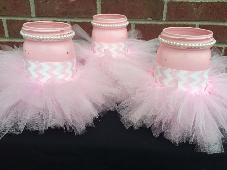 It's a GIRL Baby Shower Centerpiece~Set of 3 Pink Mason Jars~Pink Tutu~Gender Reveal Party~Shabby Chic Baby Shower~Pink Chevron~White Pearls by MonisMasonCreations on Etsy https://www.etsy.com/listing/244455850/its-a-girl-baby-shower-centerpieceset-of