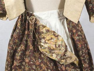 Floral print round gown, c. 1780.