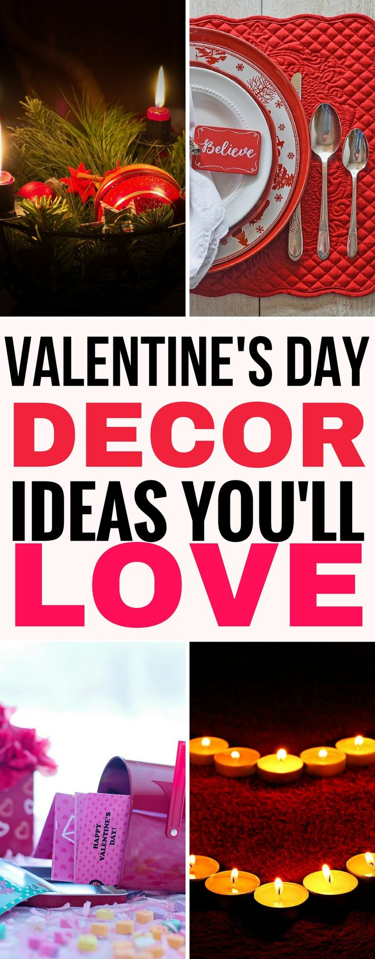 These 7 awesome Valentine's day decor ideas are THE BEST! I'm so glad I found these Vaentine's decor ideas. Now I can have elegant decor in my bedroom, for my table and some awesome wreath ideas for Valentine's. Pinning this for sure! #valentinesday #valentine #valentine #bedroom #table #tablesetting