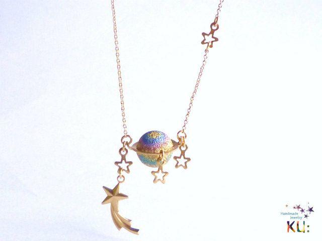 「土星はペット。」なネックレス by KU: アクセサリー ネックレス | ハンドメイド、手作り作品の通販・販売サイト minne(ミンネ)