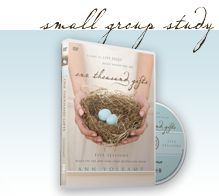 One Thousand Gifts.  Great book to prepare your heart for Thanksgiving and the Christmas season (or any season.)