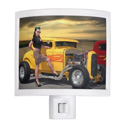 Sunset Graffiti Hot Rod Coupe Pin Up Car Girl Night Light - girl gifts special unique diy gift idea