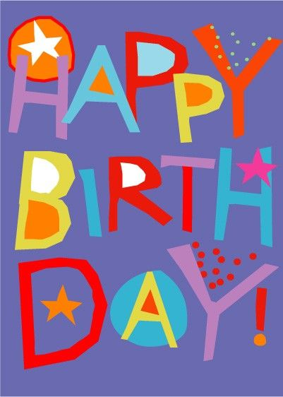 Feliz cumpleaños tarjeta de mano corte colores brillantes Letras