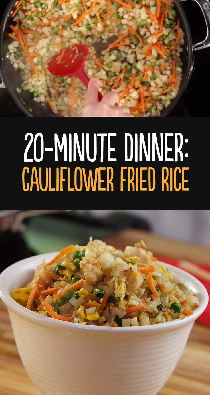 With 10 grams of carbs and 160 calories per serving, cauliflower fried rice is another great way to add more vegetables to the diet without feeling deprived of your favorite foods! Steam or saute finely chopped cauliflower for 3‑5 minutes to use as a substitute for rice.