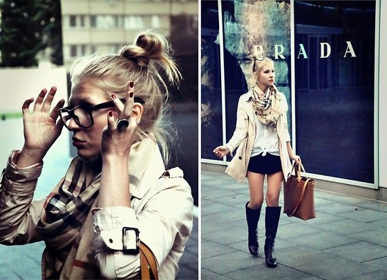 Burberry Scarf, Cubus Trench Coat, Zara Bag