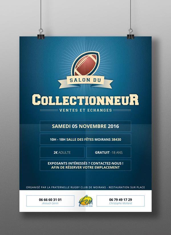Création d'une #affiche A3 pour la Fraternelle de #Rugby de #Moirans à l'occasion du #Salon du #Collectionneur !