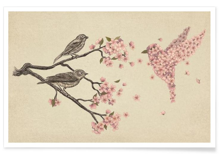 Blossom Bird en Affiche premium par Terry Fan | JUNIQE