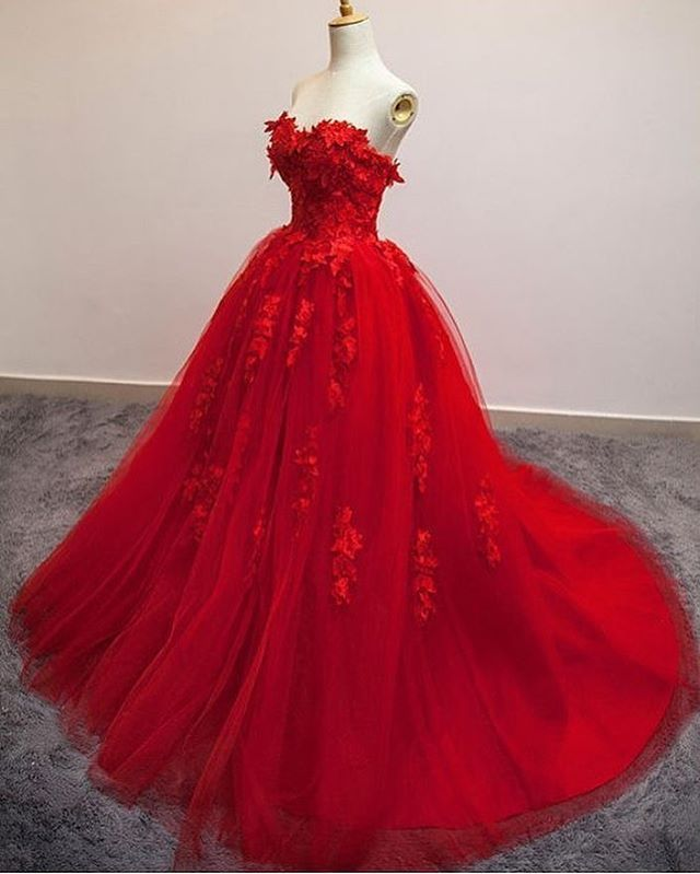 Red colored wedding dresses like these are common for brides wanting something a bit different. The flower motif on the a-line style ball gown add dimension. You can request us to make a custom wedding dress like this in any color or with any changes. We can also make a #replica of any dress based on a picture. Get pricing on custom wedding dresses at www.dariuscordell.com