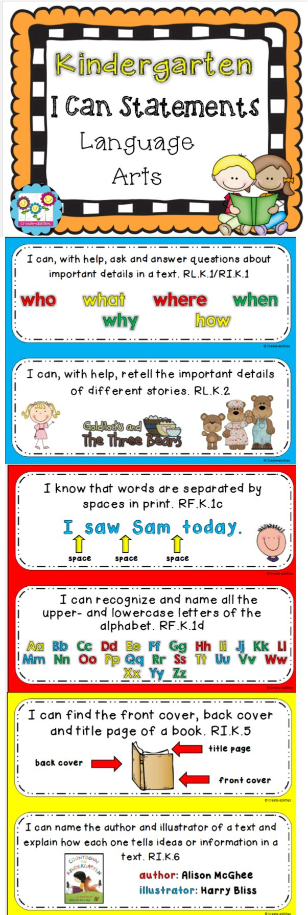 Kindergarten I Can Statements for ELA! Fantastic resource! $  #kindergarten #Icanstatements #commoncore #languagearts