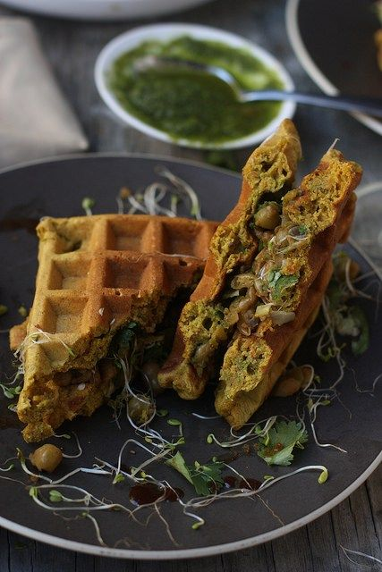 Whole Grain Savory Waffles. Made with chickpea flour, finger millet ...