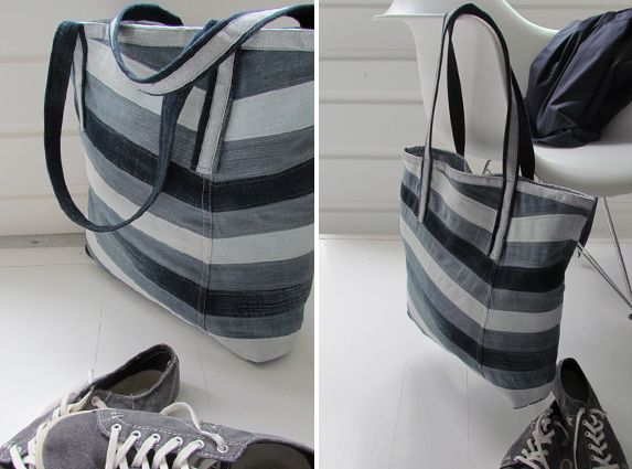 RECYCLE old jeans into a stylish TOTE. With tutorial. By Handwerkjuffie.