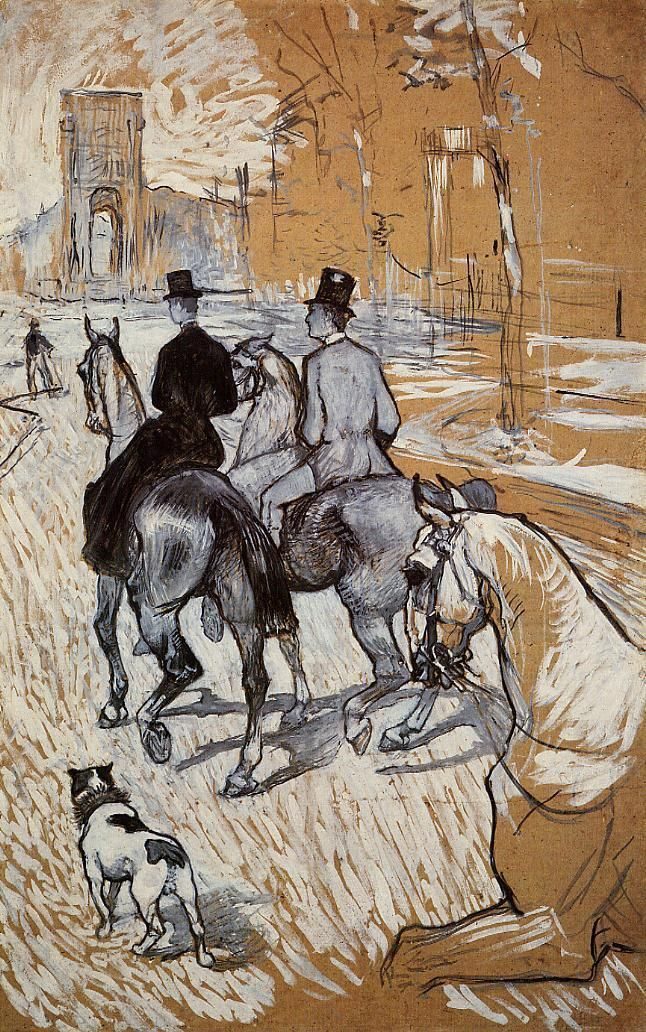 Page: Horsemen Riding in the Bois de Boulogne Artist: Henri de Toulouse-Lautrec Completion Date: 1888 Style: Art Nouveau (Modern) Genre: sketch and study Gallery: Private Collection
