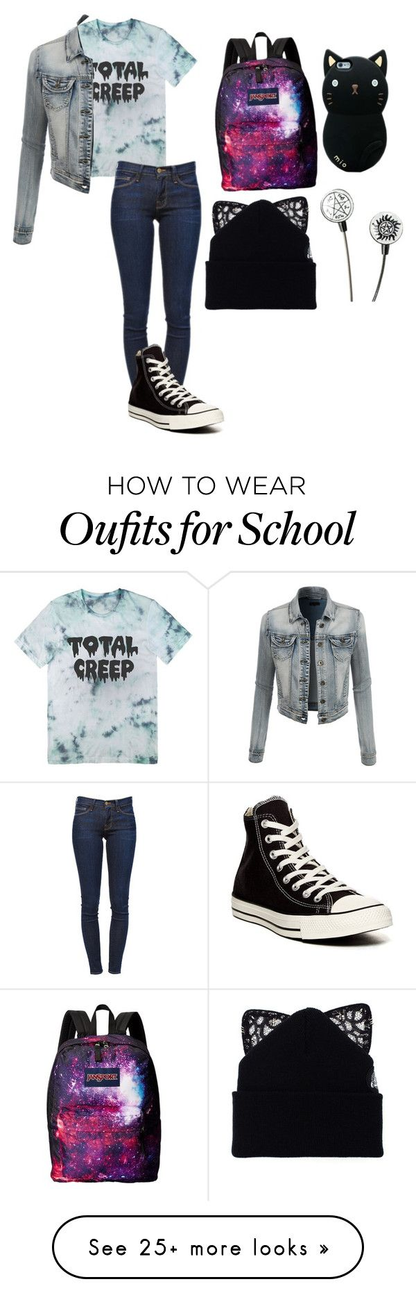 """What I'd Wear On The First Day Of School"" by armamak on Polyvore featuring Frame Denim, LE3NO, Converse, JanSport and Silver Spoon Attire"