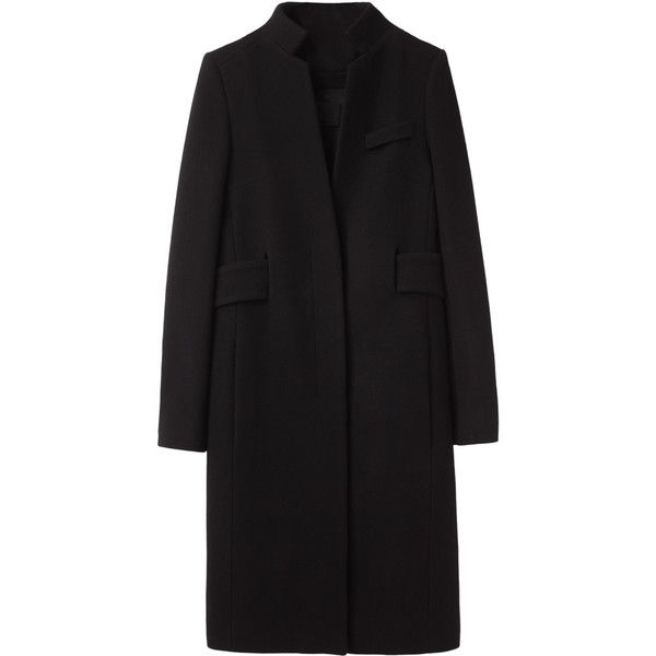 Alexander Wang Pleat Back Coat ($600) ❤ liked on Polyvore featuring outerwear, coats, jackets, coats & jackets, fitted tuxedo, flare coat, black leather coat, black coat and flared coat
