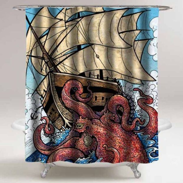 the octopus attack custom shower curtain for bathroom ideas