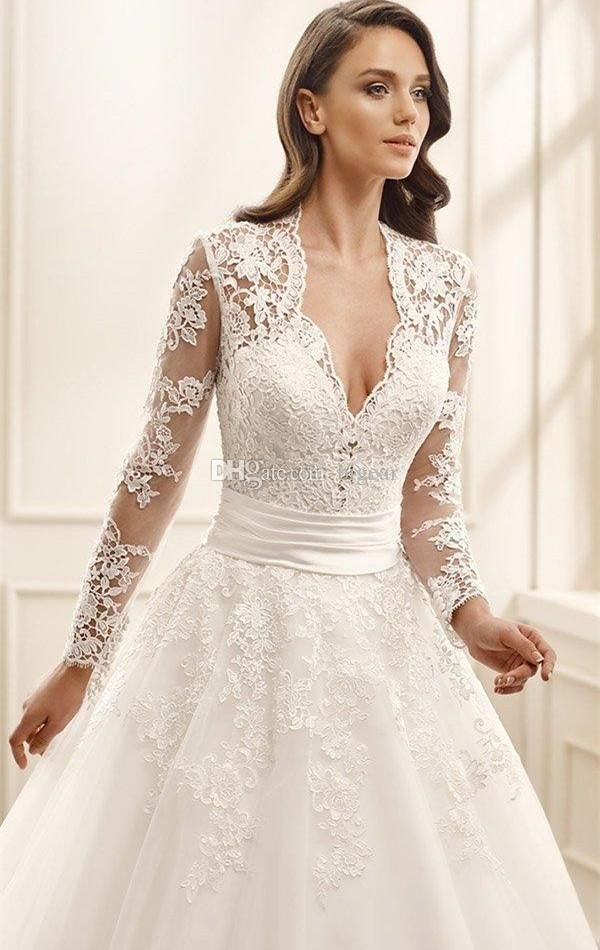 Discount A Line Long Ivory Wedding Dress With Sheer Long Sleeves Latest Wedding Dresses Plus Size Bridal Gowns From Bigear, $120.61  DHgate.Com