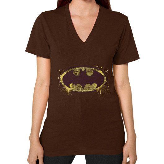 Batman Brick Splatter Logo V-Neck (on woman)