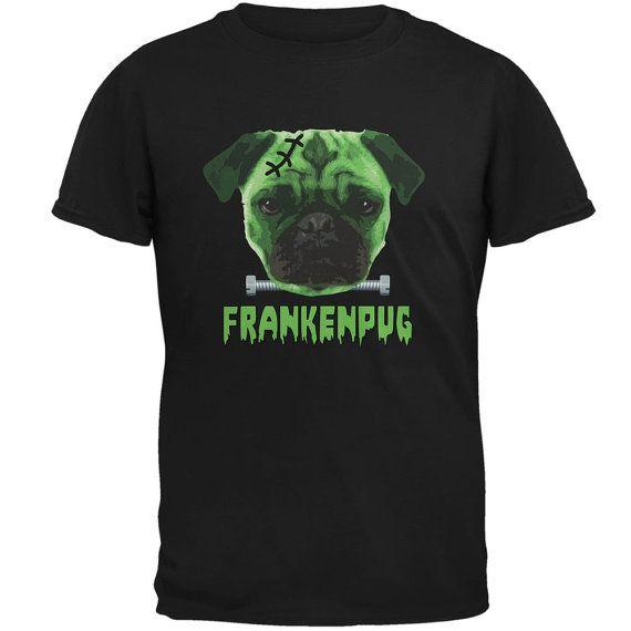 Halloween Franken Pug Dog Black Adult T-Shirt