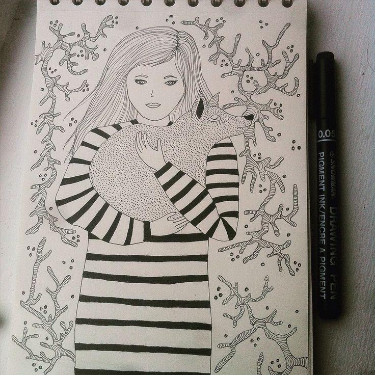 Girl with dog - Elena Paraschiv Illustration
