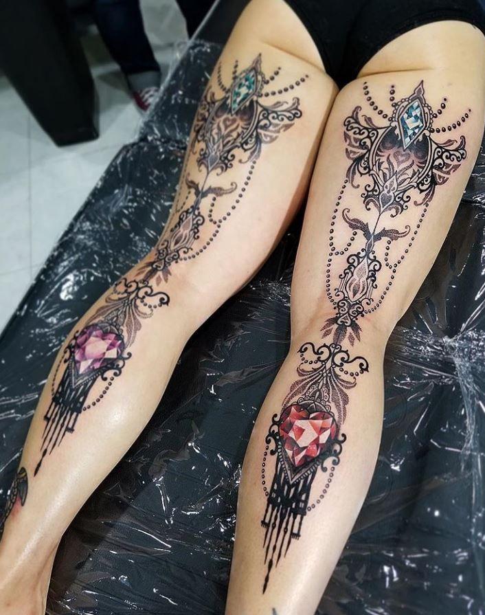 Marvelous Back Leg Tattoo Leg tattoos, Simple leg