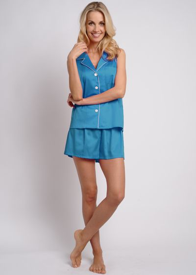 Egyptian Cotton Short Pajama Set - Teal, $128. #cottonpajamas #olist #madeintheusa #bestpajamas
