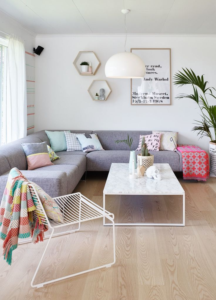 I Like The Pastel Colours Used In Space Really Large Grey Lounge Room Has Been Styled Well