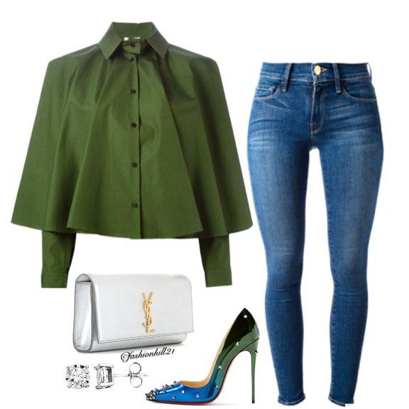 Styled By FashionKill #dinnerdate DETAILS: Shirt #Kenzo Jeans #Framedenim Purse #Ysl Earrings #Khols Shoes #Christianlouboutin