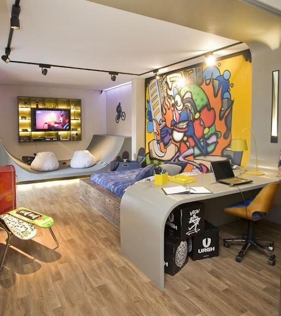 Grafite colorido para um quarto de menino temático