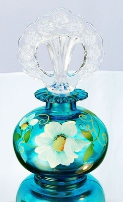 Fenton Hand Painted Copper Blue Perfume Bottle | eBay