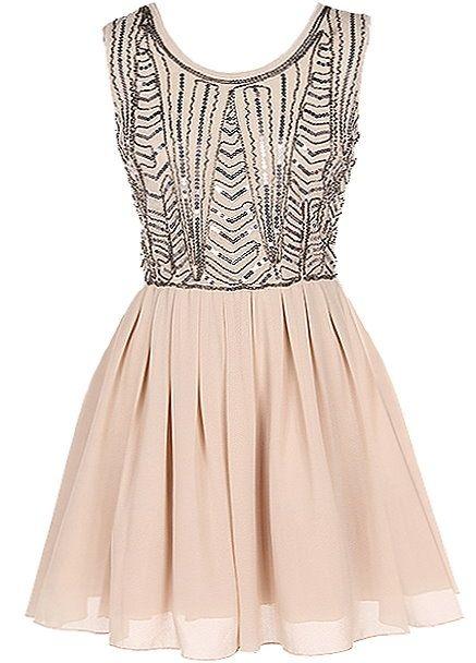 Almond Sparkler Dress   Beige Taupe Chiffon A-Line Dresses   Rickety Rack