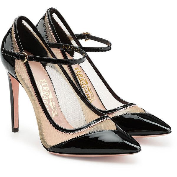 Salvatore Ferragamo Leather Pumps ($490) ❤ liked on Polyvore featuring shoes, pumps, black, black mary janes, leather mary janes, leather pumps, strappy pumps and strap pumps
