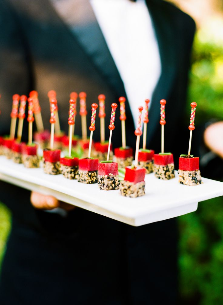 Appetizers - Sushi - See the wedding here: http://www.StyleMePretty.com/2014/04/07/dc-garden-wedding-with-pops-of-color -- Photography:  KatieStoops.com -- Catering: Windows Catering - Catering.com