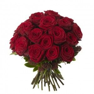 Red Rose Dome - Red Naomi roses, red Skimea. Also available using the following roses –  black baccara (dark red), sweet avalanch (soft light pink), white avalanch, cherry brandy (orange and red).