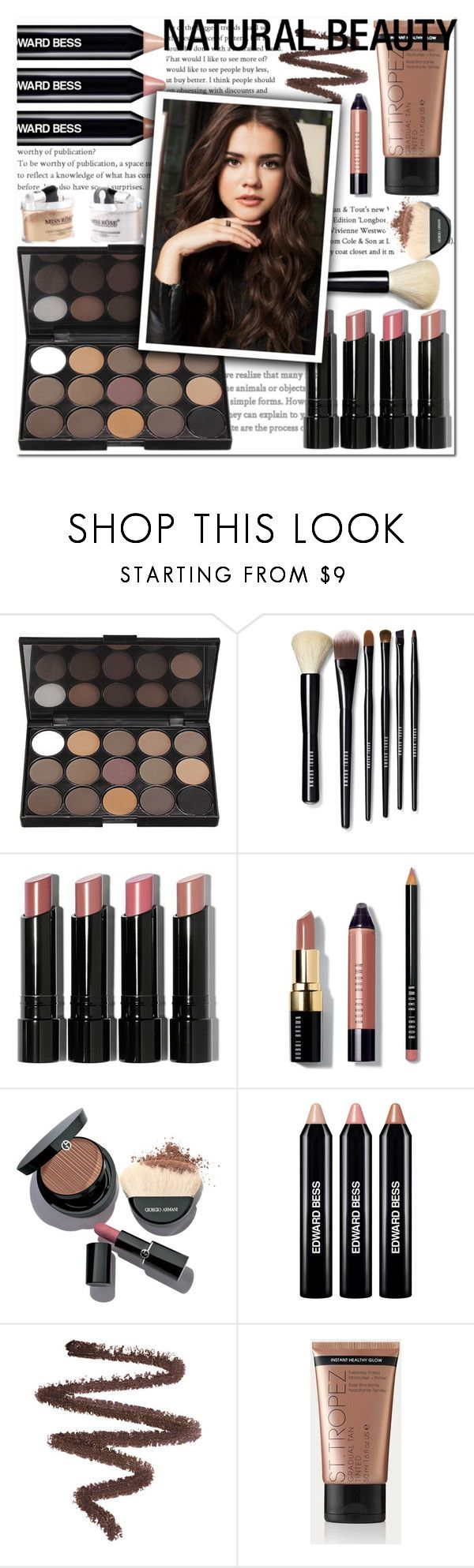 """Get the look"" by sevilalovsadli ❤ liked on Polyvore featuring beauty, Bobbi Brown Cosmetics, Giorgio Armani, Edward Bess and BARBARELLA"