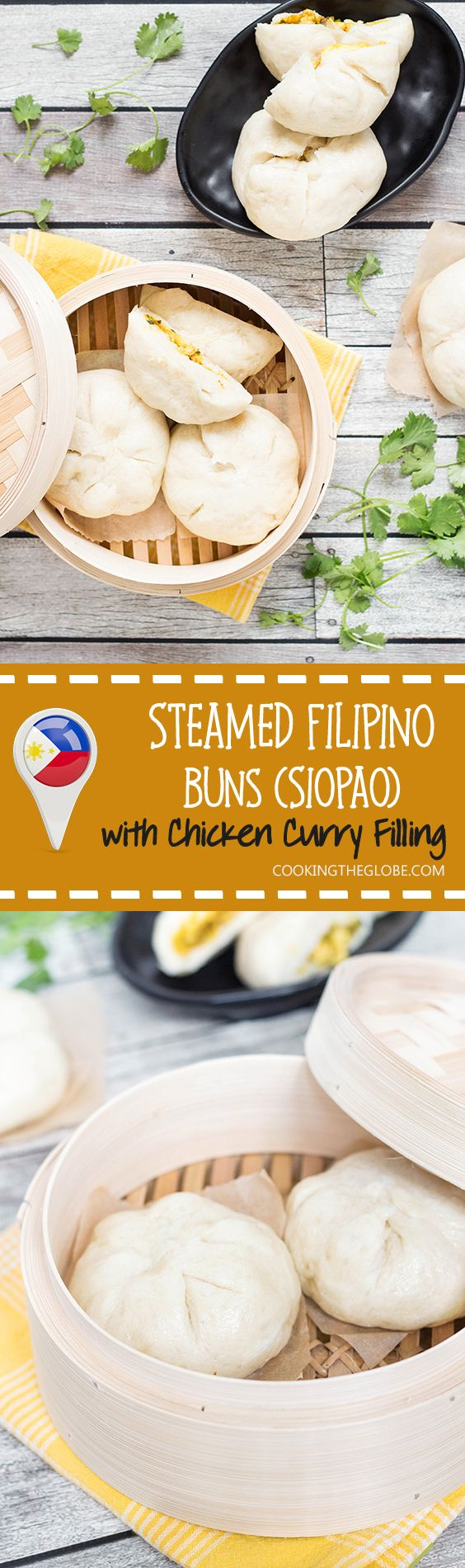 These steamed buns, called Siopao, come from the Philippines. They can be stuffed with anything you want! I made mine with a fantastic chicken curry filling!