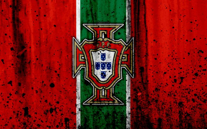 Download wallpapers Portugal national football team, 4k, logo, grunge, Europe, football, stone texture, soccer, Portugal, European national teams