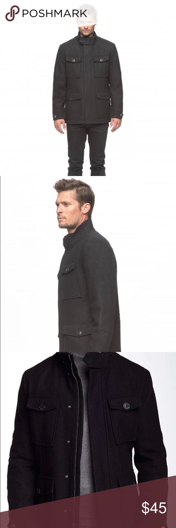 New Andrew Marc  Men's Coat. Size L Brand new Andrew Marc Military style coat. It can be worn with a suit or jeans. Dress it up or down. It will definitely keep you warm this upcoming winter. It is a regular fit cut with a little extra room in the chest and body for a comfortable fit. Don't miss out! Pet free and smoke free home. Five star seller with less than one day shipping. Please no low ball offers. Thanks for shopping my closet!  😘 Andrew Marc Jackets & Coats