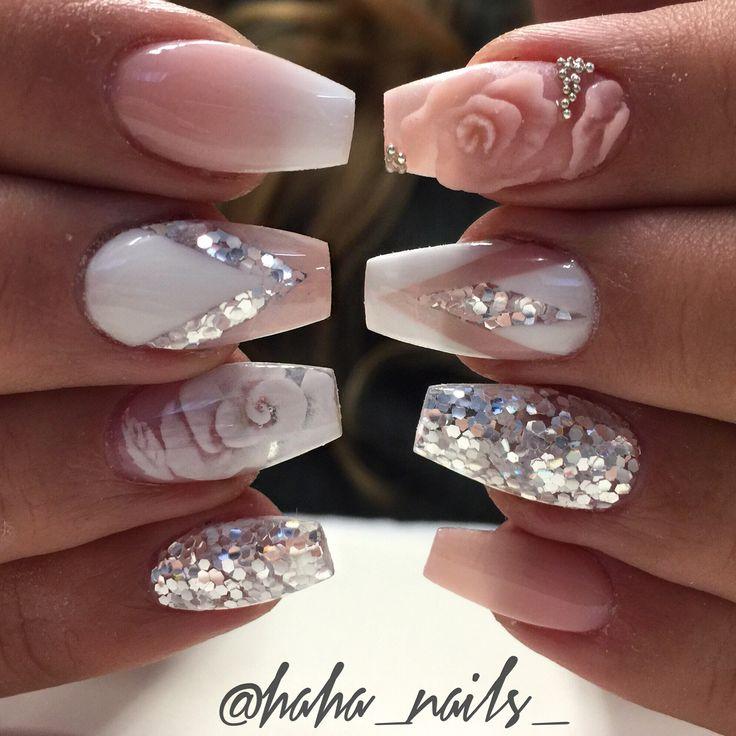 @haha_nails_ mani ombré nails 3D roses